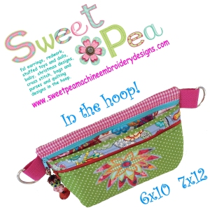 3d flower fanny bag 6x10 7x12 in the hoop machine embroidery design