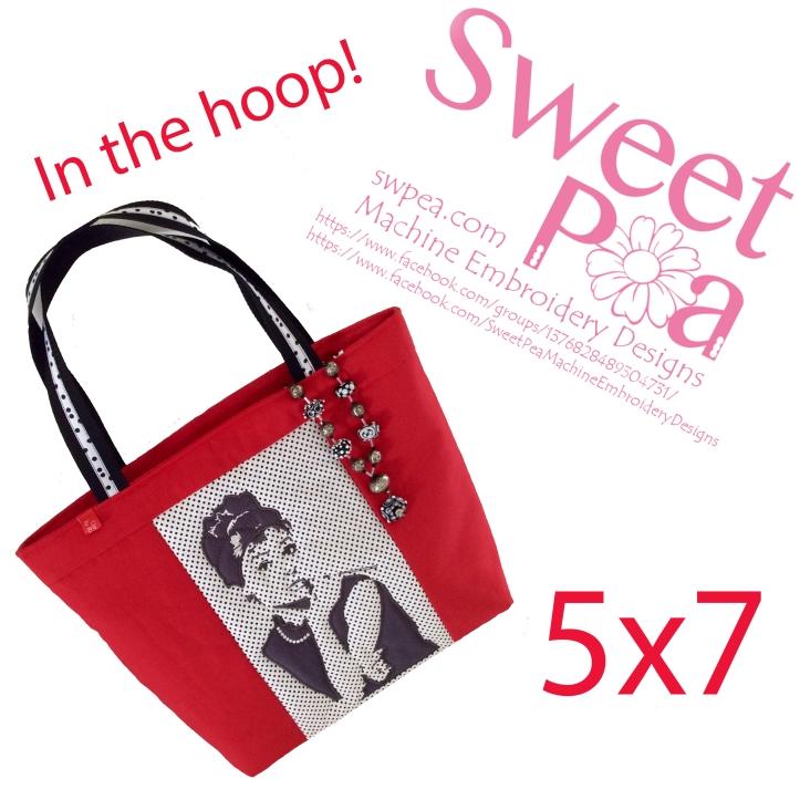 Audrey Hepburn bag 5x7 in the hoop machine embroidery design