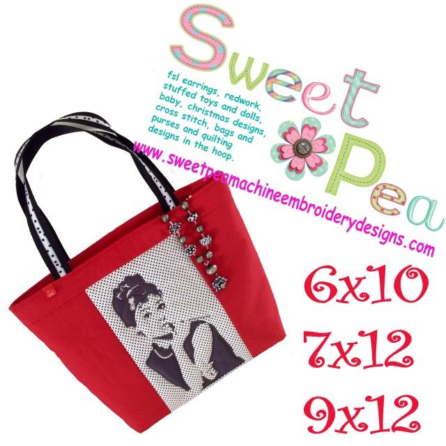 Audrey Hepburn bag 6x10 7x12 9x12 in the hoop machine embroidery design