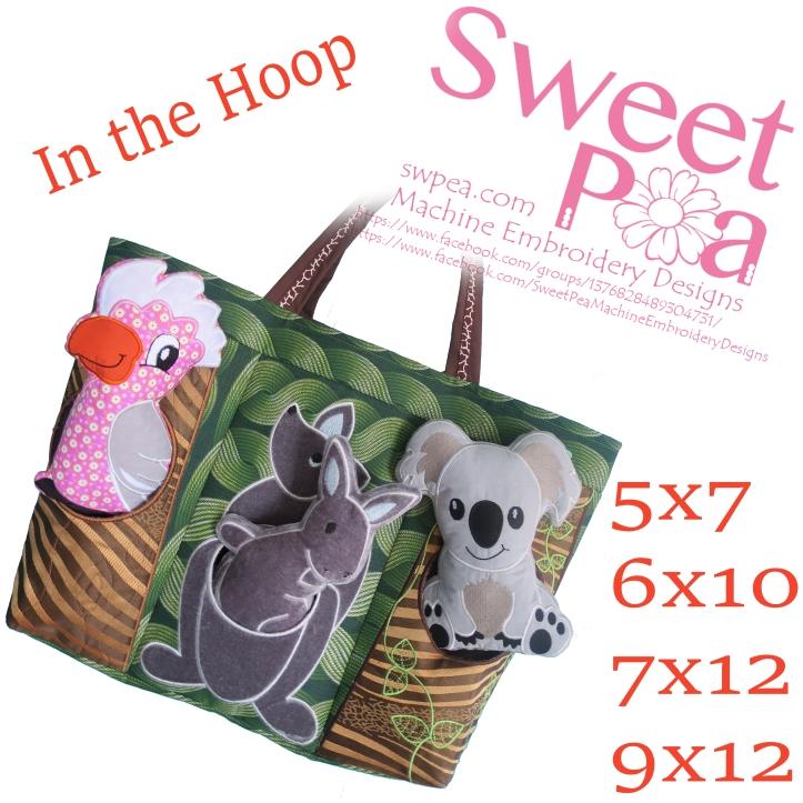 Australian animals bag 5x7 6x10 7x12 in the hoop machine embroidery design
