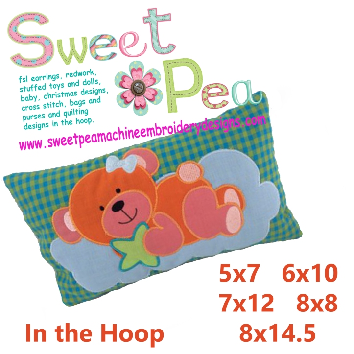 Baby pillow bear wishes 5x7 6x10 7x12 8x8 8x14.5 in the hoop machine embroidery design