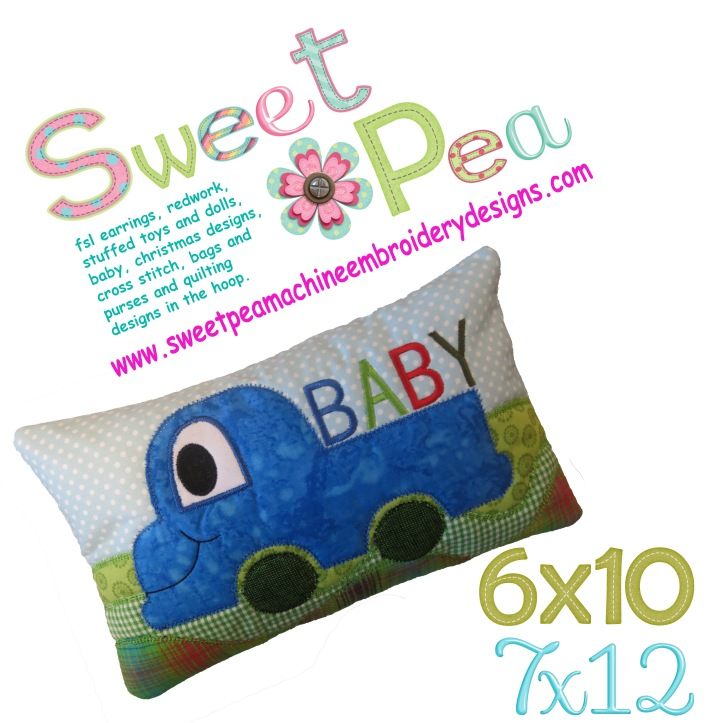 Baby pillow truck 6x10 and 7x12 in the hoop machine embroidery design