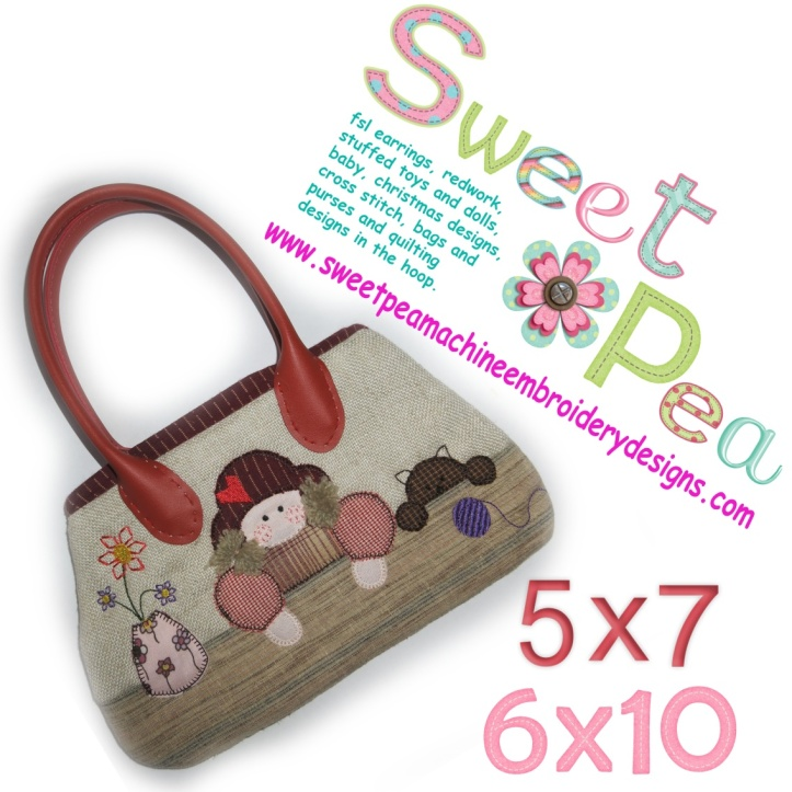 Bag with girl and cat 5x7 and 6x10 in the hoop machine embroidery design