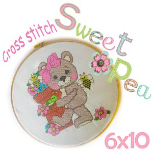 bear with potted flowers cross stitch ith in the 6x10 hoop