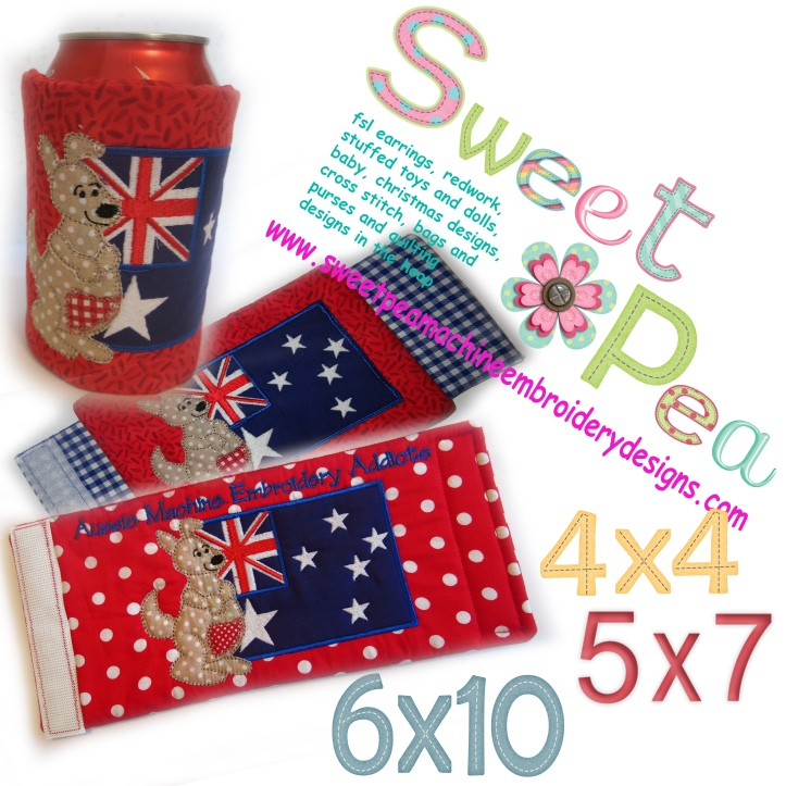 Bottle wrap stubbie cooler with kangaroo and flag 4x4 5x7 and 6x10 in the hoop machine embroidery design