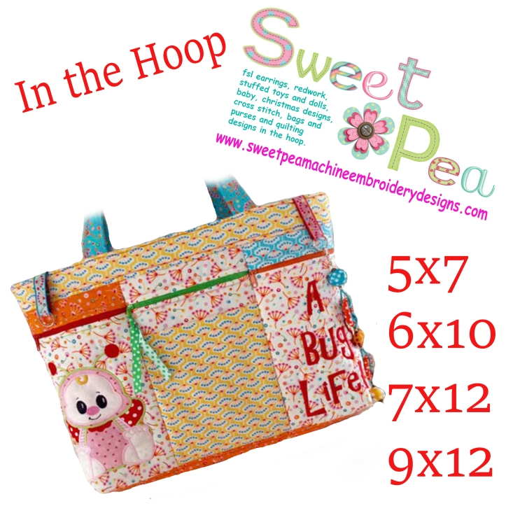 Bug Nappy Diaper bag 6x10 7x12 and 9x12 in the hoop machine embroidery design