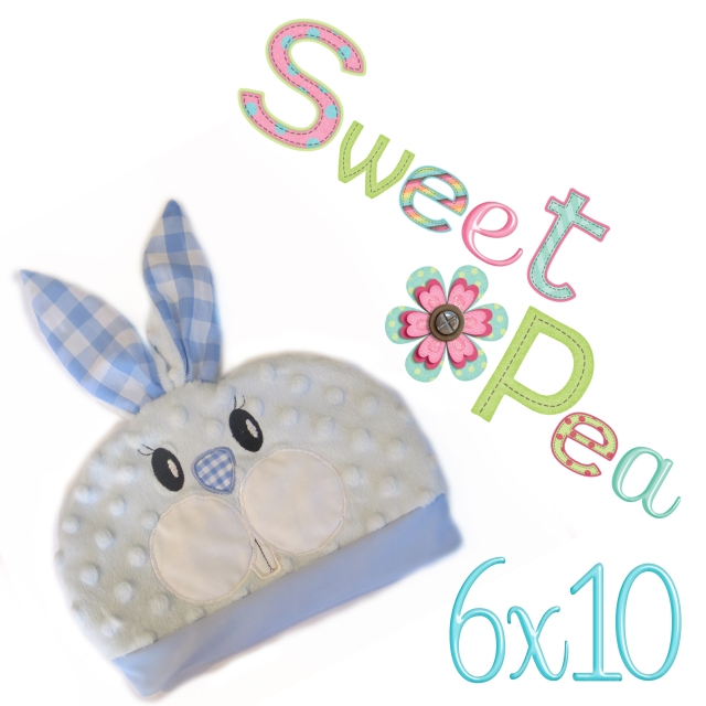 Bunny baby hat ith in the 6x10 hoop