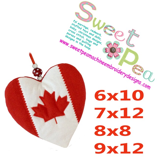 Canada flag heart mugrug or oven glove 6x10 7x12 8x8 and 9x12 in the hoop machine embroidery design