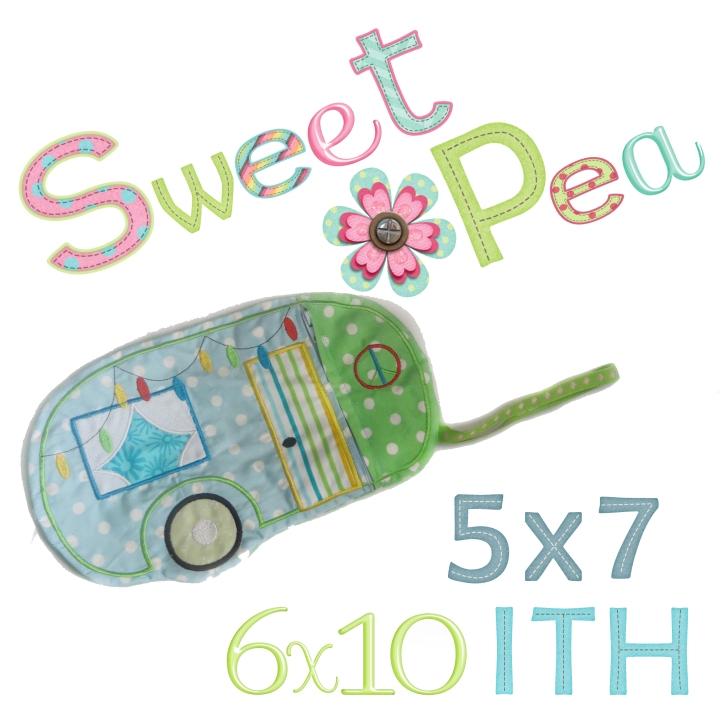 caravan purse 5x7 6x10 ith in the hoop zipper machine embroidery design