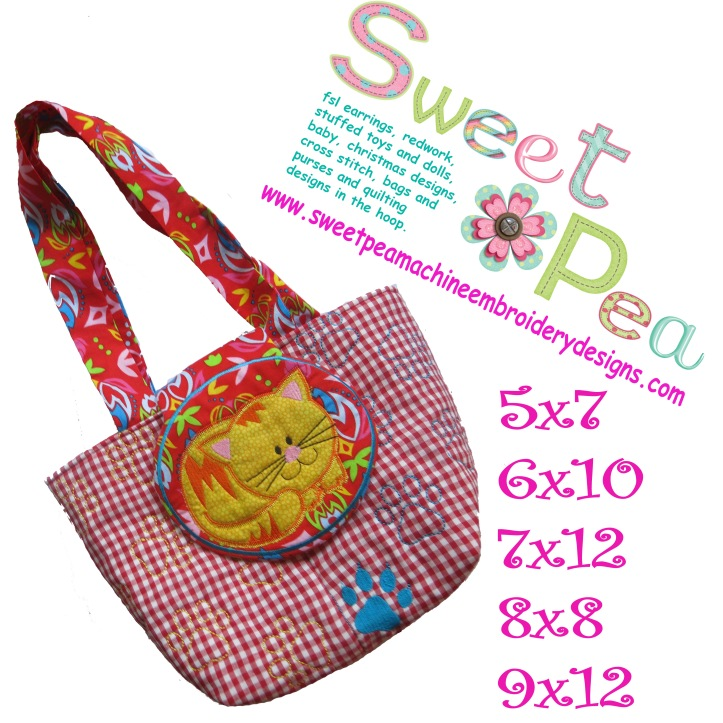 Cat flap bag 5x7 6x10 7x12 8x8 9x12 in the hoop machine embroidery design