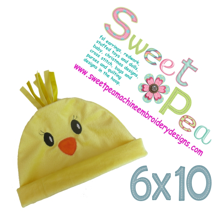 Chicken baby hat in the 6x10 hoop machine embroidery designs