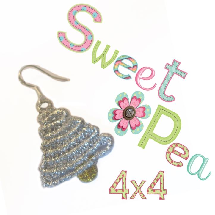 Christmas tree swirl fsl earrings in the 4x4 hoop