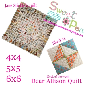 Dear Allison Quilt block 11 of the week 4x4 5x5 6x6 in the hoop machine embroidery