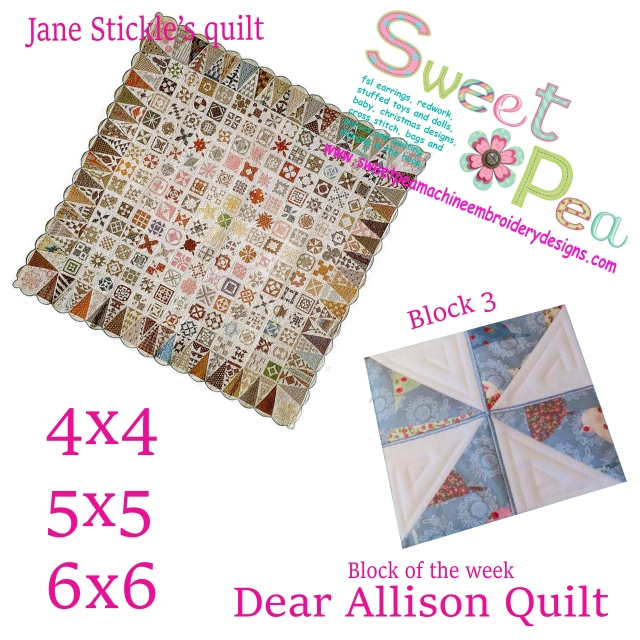 Dear Allison Quilt block 3 of the week 4x4 5x5 6x6 in the hoop machine embroidery