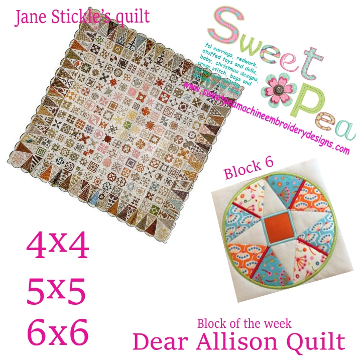 Dear Allison Quilt block 6 of the week 4x4 5x5 6x6 in the hoop machine embroidery