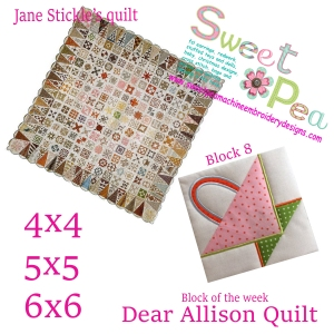 Dear Allison Quilt block 8 of the week 4x4 5x5 6x6 in the hoop machine embroidery