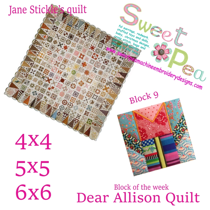 Dear Allison Quilt block 9 of the week 4x4 5x5 6x6 in the hoop machine embroidery