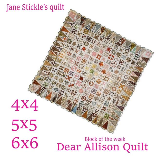 Dear Allison Quilt block of the week 4x4 5x5 6x6 in the hoop
