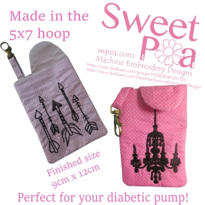 Diabetic pump case 5x7 in the hoop machine embroidery design.