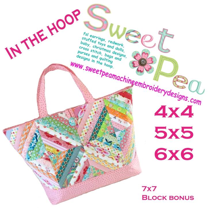 Diagonal block tote 4x4 5x5 6x6 7x7 in the hoop machine embroidery design