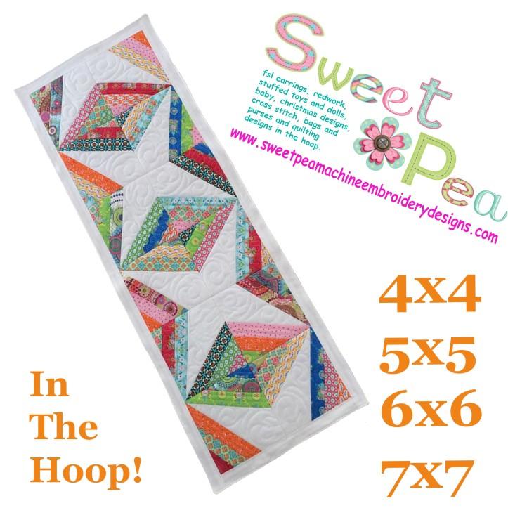 Diamond stripe table runner 4x4 5x5 6x6 7x7 in the hoop machine embroidery design