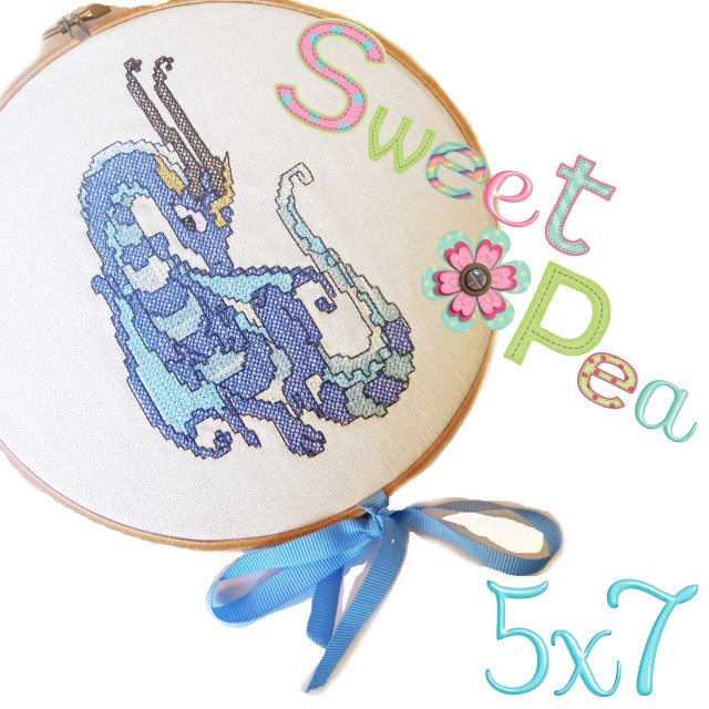 dragon cross stitch ith in the hoop machine embroidery