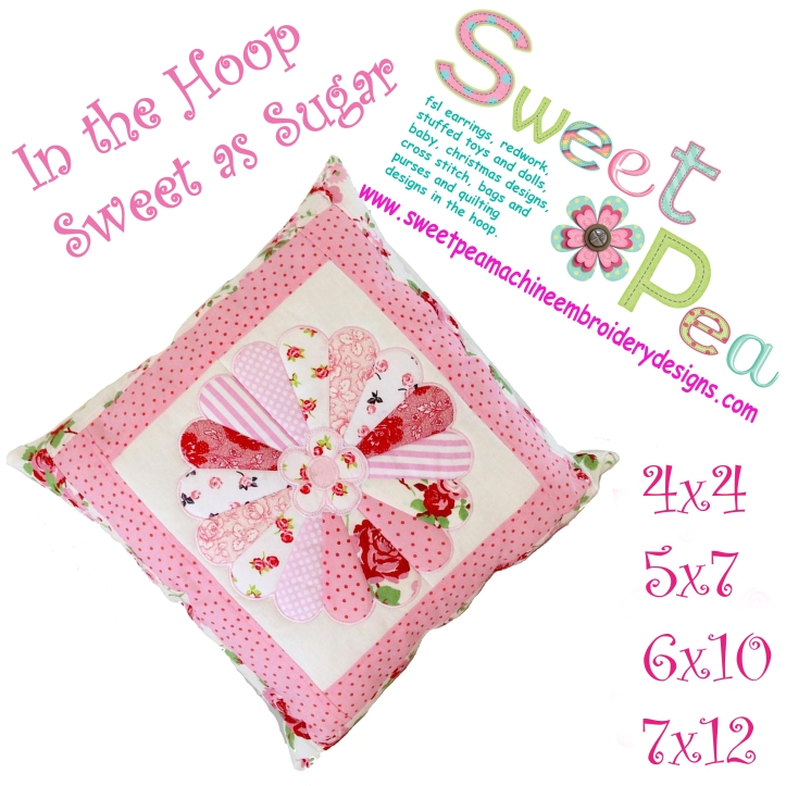 Dresden sweet as sugar cushion 4x4 5x7 6x10 7x12 in the hoop machine embroidey