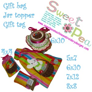 Easter bunny in a basket gift bag, jar topper and gift tag set