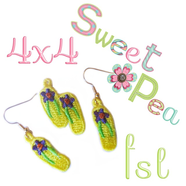 flip flop earrings and pendant fsl in the 4x4 hoop machine embroidery design