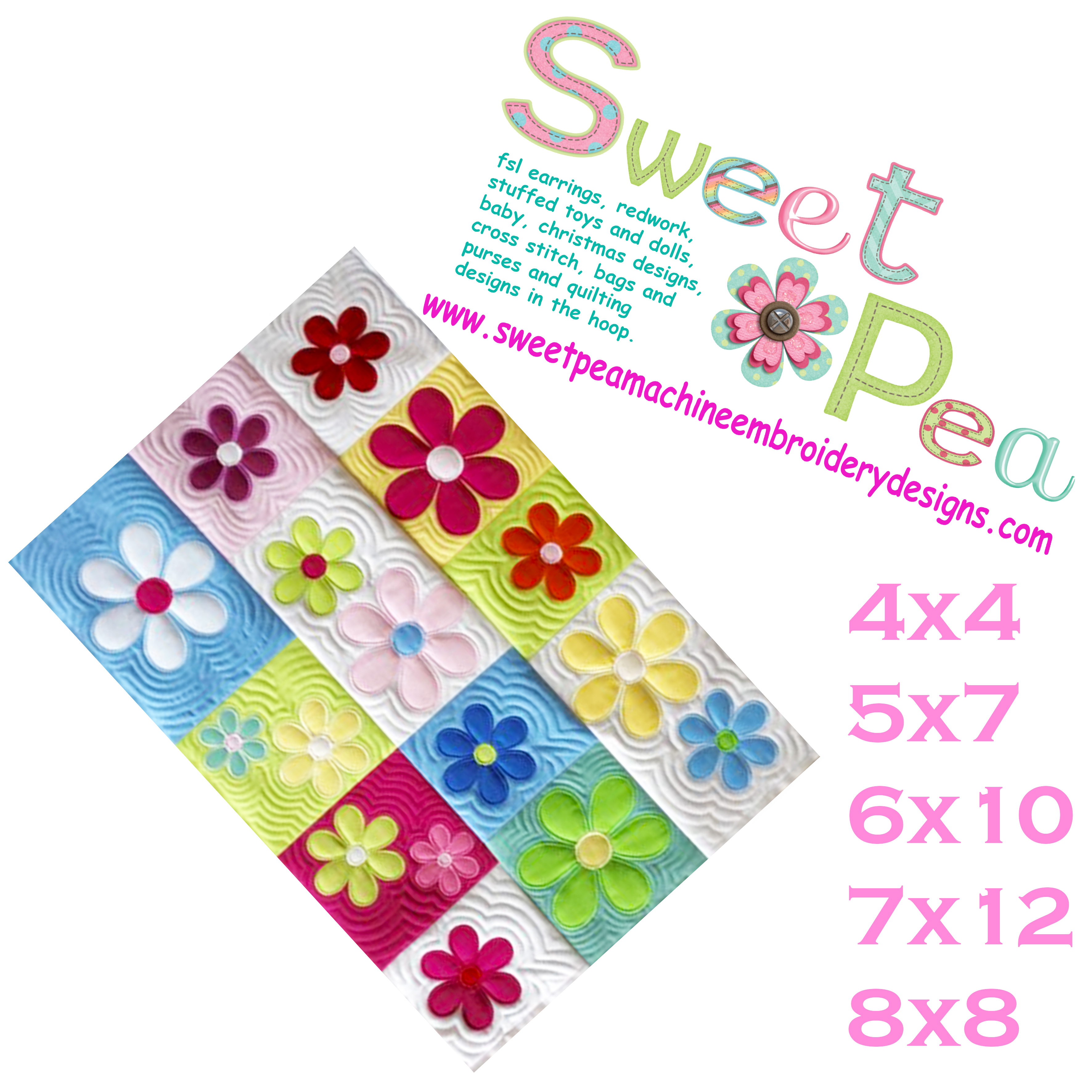 My designs sweet pea machine embroidery