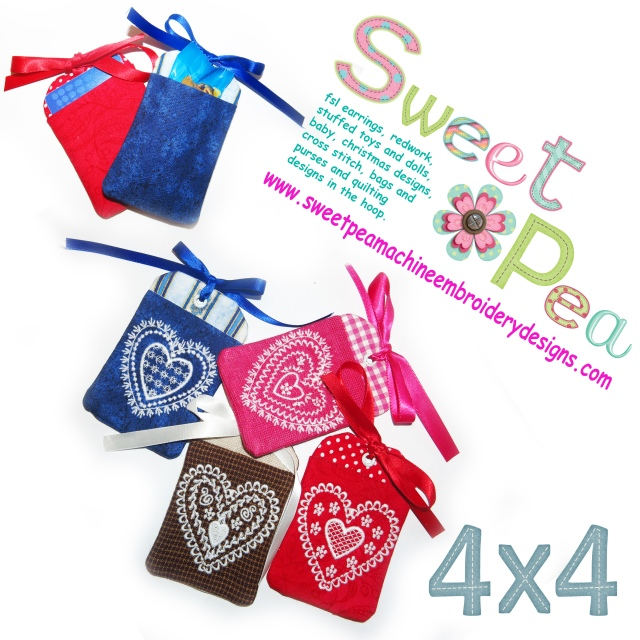 Gift tags valentines day redwork 4x4