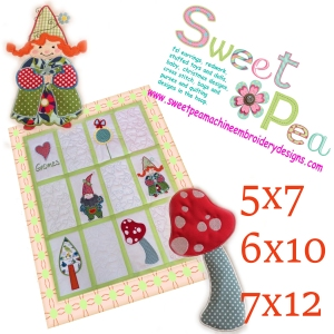 Gnome quilt 5x7 6x10 7x12 in the hoop machine embroidery design