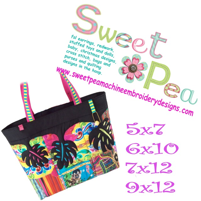 Hawaiian leaf beach bag 5x7 6x10 7x12 9x12 in the hoop machine embroidery design