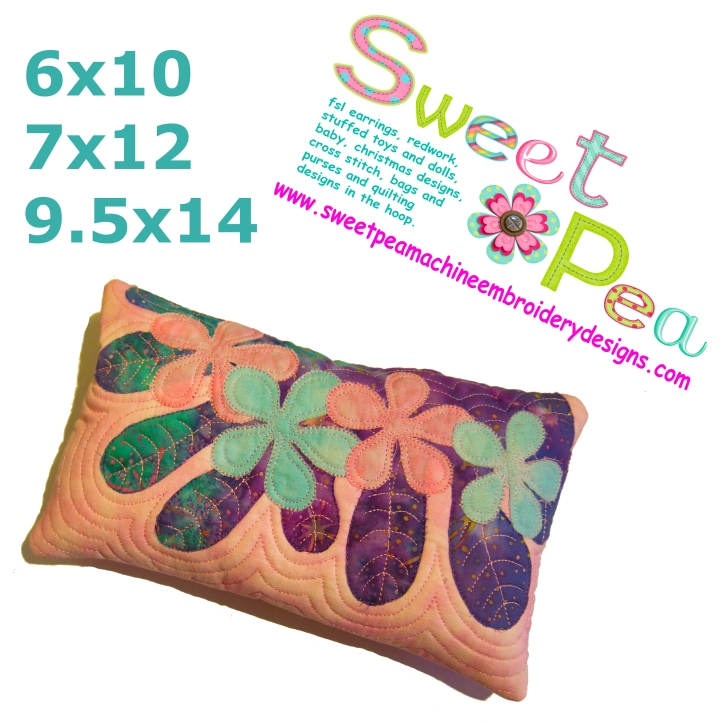 Hawaiian pillow 6x10 7x12 9.5x14 in the hoop machine embroidery designs