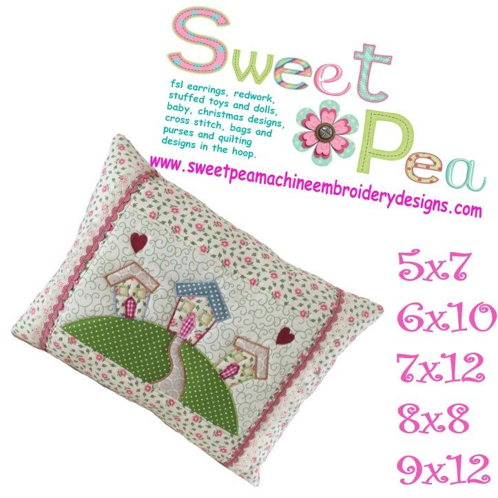 Home on a hill cushion 5x7 6x10 7x12 8x8 9x12 in the hoop machine embroidery design