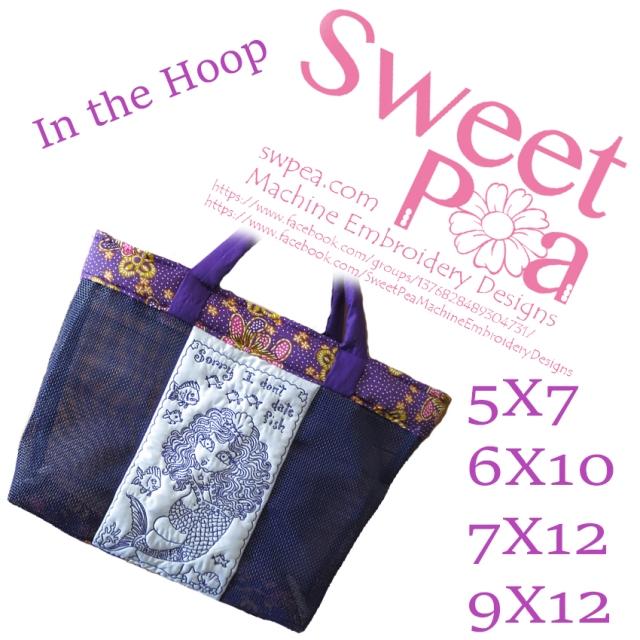 I don't date fish beach bag  5x7 6x10 7x12 9x12 in the hoop machine embroidery design