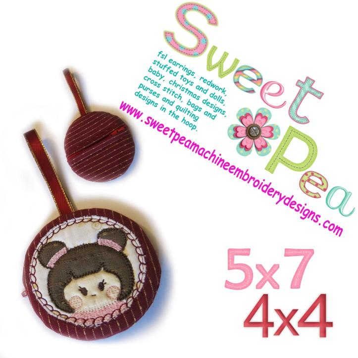 Japanese girl round zipper purse 4x4 and 5x7