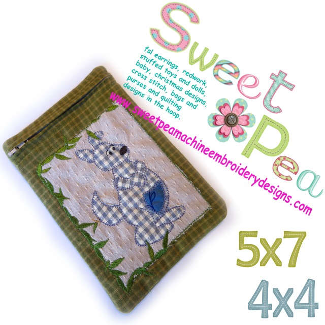 Kangaroo zipper purse in the hoop machine embroidery 4x4 and 5x7