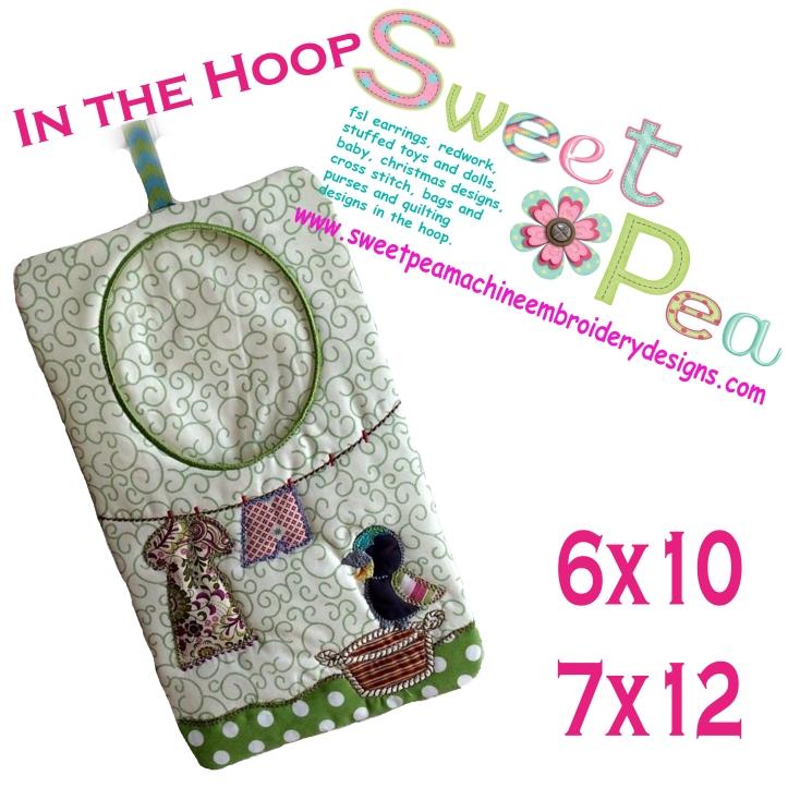 Kookaburra peg bag in the hoop 6x10 and 7x12 machine embroidery design