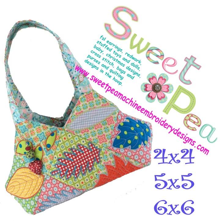 Leaf bag 4x4 5x5 6x6 in the hoop machine embroidery design