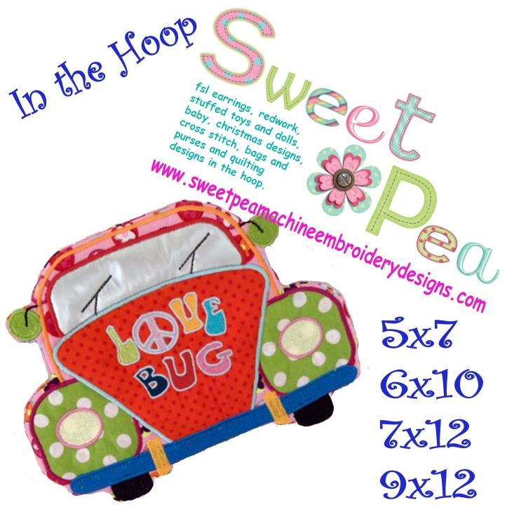 Love bug mugrug oven glove 5x7 6x10 7x12 in the hoop machine embroidery