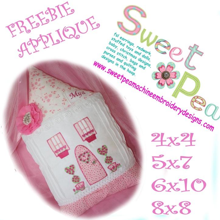 Love cottage applique 4x4 5x7 6x10 8x8 machine embroidery design