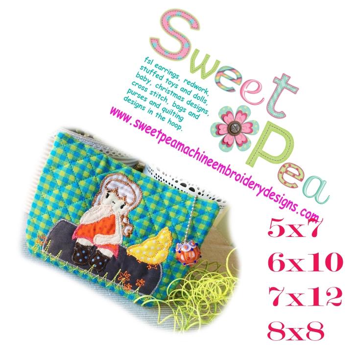 Makeup bag girl on a log 5x7 6x10 7x12 8x8 in the hoop machine embroidery design