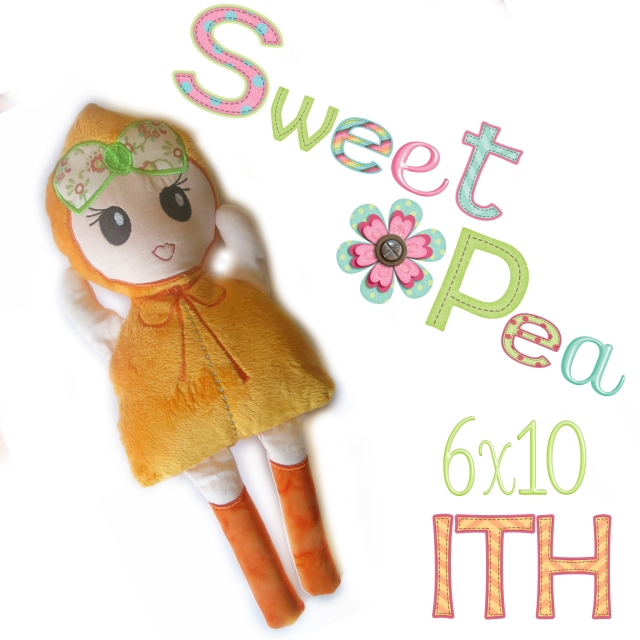 modern girl stuffed toy doll ith in the hoop machine embroidery design