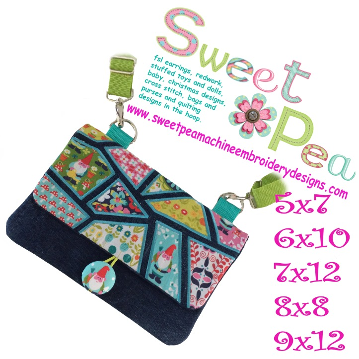 Mosaic Flap shoulder bag 5x7 6x10 7x12 9x12 8x8 in the hoop machine embroidery design