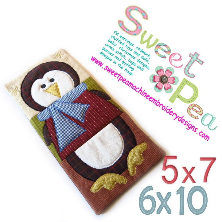 Penguin table runner 5x7 and 6x10