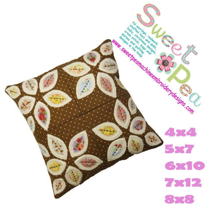 Petal pillow 4x4 5x7 6x10 7x12 and 8x8 in the hoop machine embroidery design