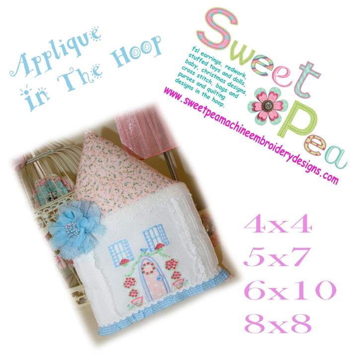 Pretty house applique 4x4 5x7 6x10 8x8 machine embroidery design