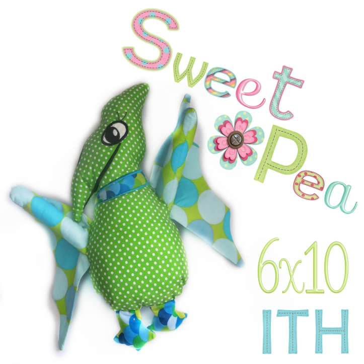 Pterodactyl stuffed toy ith in the hoop machine embroidery design