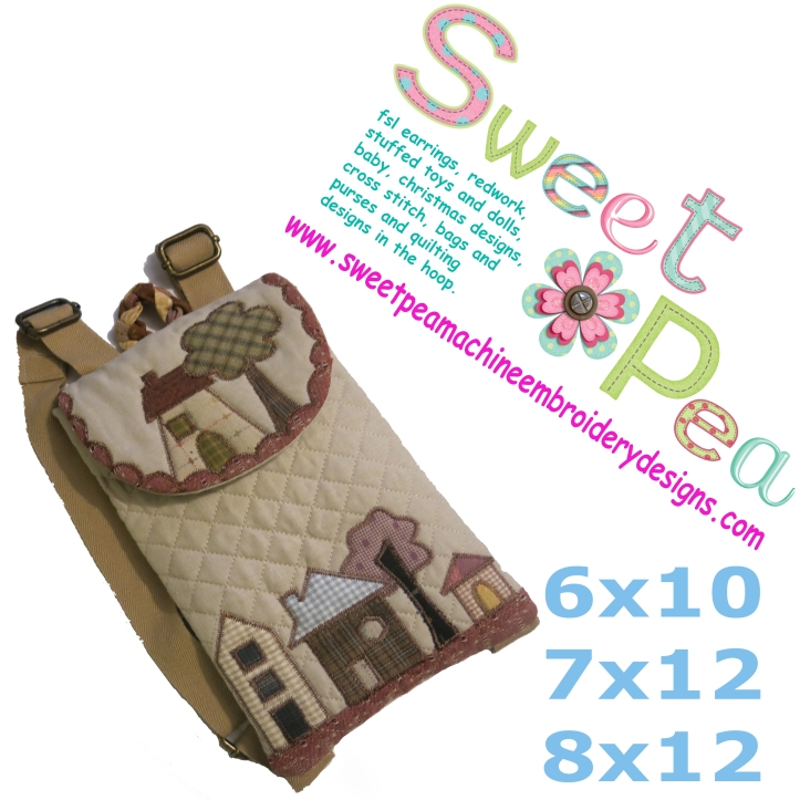 Quilted house backpack 6x10 7x12 8x12 in the hoop machine embroidery design